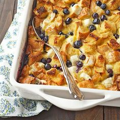Blueberry Surprise French Toast Casserole     The secret to this blueberry-studded breakfast casserole is pockets of luscious, melty cream cheese. Top it off with your favorite breakfast syrup for a sweet finish.