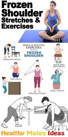 Simple and Effective Exercises to Fix a Frozen Shoulder! Frozen shoulder, also known as adhesive capsulitis, is a condition characterized by stiffness and pain in your shoulder joint. Shoulder Mobility Exercises, Rotator Cuff Exercises, Shoulder Stretches, Frozen Shoulder Exercises, Shoulder Workout, Frozen Shoulder Pain, Pilates, Hand Therapy, Massage Therapy