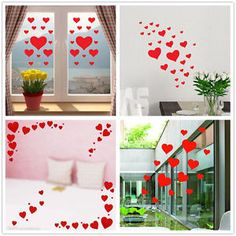66X Valentines Heart Shop Window Wall Stickers Romantic Decor Decal Mother s day | eBay