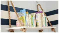 My Party Parade - Formerly Celebrations and Sweet Creations - Stephanie Campagna: Nautical Nursery Pirate Nursery, Pirate Bedroom, Nautical Bedroom, Kids Bedroom, Shark Bedroom, Rope Shelves, Suspended Shelves, Wood Shelf, Wall Shelves