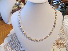 White Pearl and Pink  Swarovski Crystal Necklace