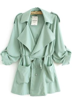 Green Drawstring Pockets Notch Lapel Cotton Trench Coat....I LOVE THIS COAT! Where was this this past spring! Literally would have been perfect!