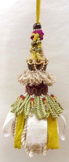 Bohemian Decorative Tassel,  Cottage Chic Decor,  Boho Home Decor,  Gypsy Decor, Burgundy, Tan,  Green
