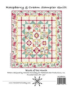 """Raspberry & Cream Sampler Quilt Block of the Month Shop Kit By McCloskey, Marsha  - The Raspberry & Cream Sampler is a Block of the Month quilt pattern for shops, featuring Marsha McCloskey's Raspberry and Cream fabric line from Clothworks (due out in December, 2016). The quilt contains twelve different 9"""" (finished) Sampler Blocks. Each block is surrounded by four large triangles. A pieced border is formed by 14 Stepping Stones Blocks and 4 Double Fourpatch Blocks. Two plain borders finish…"""