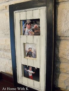 Old cabinet doors turned into picture frames!!!!  (great idea!)