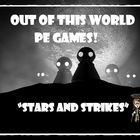 """This lesson plan and diagram is for a large group physical education class game called """"Stars and Strikes""""!"""