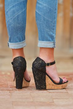 **10% OFF with code REPLAUREN at checkout + free, fast US shipping** || All About That Lace Wedges - Black from Closet Candy Boutique