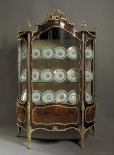OnlineGalleries.com - A Large Marquetry and Gilt-Bronze Louis XV Style Display Cabinet