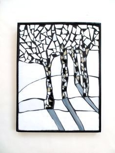 Birch tree mosaic winter scene tree mosaic by DesignsStainedGlass