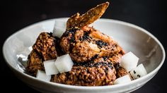 Back in town: Shrimp-brined fried chicken.