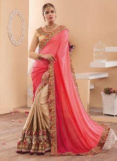 Cream & Pink Georgette & Silk Saree ,Indian Dresses - 1