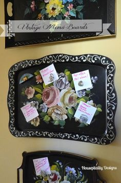 I buy these trays whenever i can.  What a great way to use and display them.  Vintage Tole Tray Memo Board-Housepitalty Designs @bHome.us