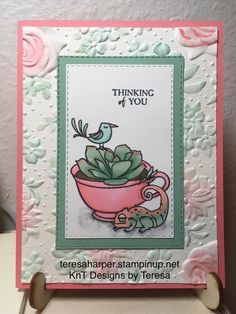 KnT Designs by Teresa: Thinking of you Country Floral chameleon card Birthday Presents For Mom, Birthday Cards, Stampin Up Paper Pumpkin, Pumpkin Cards, Get Well Cards, Card Sketches, Color Card, Stamping Up, Flower Cards