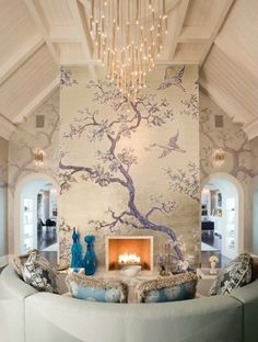 How elegant is this mural? Blue and white adds charm to this lovely room!