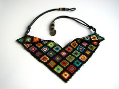 Granny Squares Afghan Beaded Collar Necklace