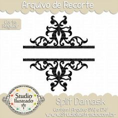 Split Damask, Arabescos, Swirls, Corte Regular, Regular Cut, Silhouette, DXF, SVG, PNG