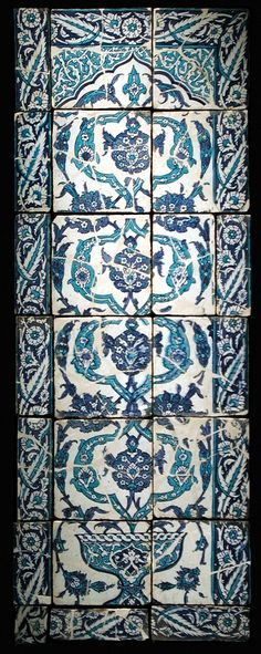 Tile from a Panel Turkey, possibly Istanbul, second half of century Ceramics Fritware, underglaze painted 61 x 22 in. x cm) The Nasli M. Heeramaneck Collection, gift of Joan Palevsky from a Panel Turkish Art, Turkish Tiles, Portuguese Tiles, Islamic Art Pattern, Pattern Art, Islamic Tiles, Pattern And Decoration, Art Google, Art And Architecture