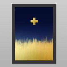 Metallic Golden Cross Art Print by Cloud 9 Creative