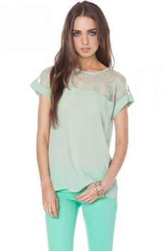 clothing makes me happy. mint colored lace clothing? even better
