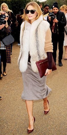 Obsessed or Hot Mess? Vote on These Daring Looks | FUR PENCIL SKIRTS | We should have seen this coming. Soon after wearing fur-adorned booties, Olivia Palermo takes it to the next level with a slim skirt in the fuzzy material.