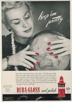 Antique 1940s Advertisement - Dura-Gloss Nail Polish