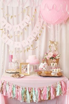"We love this sweet, whimsical take on a ""Hot Air Balloon""-themed Birthday Party! #firstbirthday #desserttable"