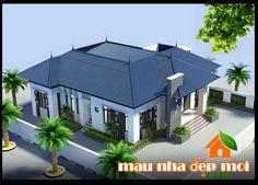 thiet ke biet thu san vuon 1 tang dep mai thai Bungalow House Design, Bungalow House Plans, Modern House Design, Model House Plan, Civil Construction, Home Fashion, Facade, Architecture Design, Villa