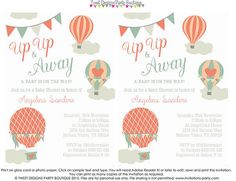 Baby Shower HOT AIR BALLOON invitation by TweetPartyPrintables