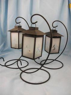 Bulk Buy 3 x Chinese Lantern Metal & Glass Single Candle holder 30cm tall D0954E