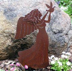 Rusty Finish Metal Garden Art Angel Yard Stake with Dove