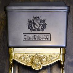 Chadder & Co. High/Low level toilet cistern. Bespoke colour and finish, gun metal grey and Gold plated  brackets. #chadder #chadderandco…