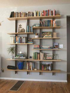 Surprising Tricks: Floating Shelf Arrangement Bookshelf Styling floating shelves over toilet vanities.Floating Shelf Arrangement Bookshelf Styling floating shelf above bed pillows. Creative Bookshelves, Modern Bookshelf, Floating Bookshelves, Floating Corner Shelves, Bookshelf Styling, Bookshelf Design, Bookshelf Ideas, Bookshelf Plans, Shelving Ideas