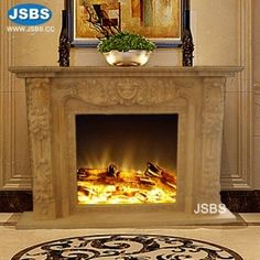 Stone Carved marble fireplace mantel Marble Fireplace Mantel, Marble Fireplaces, Fireplace Surrounds, Fireplace Mantels, Marble Columns, Stone Columns, Marble Carving, Stone Fountains, Yellow Marble