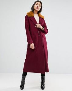 ASOS - Manteau trapèze en laine mélangée avec col en fourrure