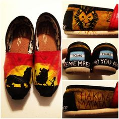 Custom HandPainted Lion King Toms Shoes Shoes NOT by jessicalexis, $75.00 Weird Fashion, Fashion Shoes, Fashion News, Women's Fashion, King Tom, Hakuna Matata, Cute Shoes, Me Too Shoes, Tom Shoes