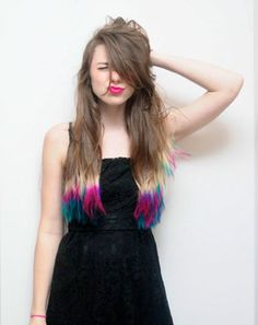 Multicolour dip-dyed.
