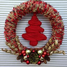Rustic Christmas Wreath, Red Yarn Christmas Wreath, Christmas Wreath, Holiday Tree Wreath, Tree Wreath, Woodland Holiday Wreath, by TweetTweetWreaths on Etsy