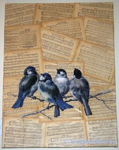 Antique sheet music and bird artwork modge podged onto stretched canvas.  I LOVE THIS...now hanging in my family room.