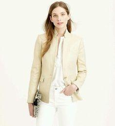NEW $218 J.Crew Women's Regent Blazer Metallic Linen, Size 6, Flax Gold, c2505