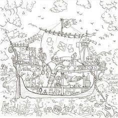 Pirate Ship Colouring In Poster