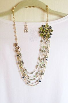 Forest Green- Asymmetrical- Swarovski & Fresh Water Pearls- Necklace.. Gift: Matching Earrings