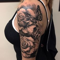 Large flower roses with a butterfly tattoo. - Large flower roses with a butterfly tattoo. – – ideas – Large flower roses with a but - Trendy Tattoos, Cute Tattoos, Beautiful Tattoos, Flower Tattoos, Body Art Tattoos, Girl Tattoos, Tattoos Pics, Tattoos Gallery, Girl Sleeve Tattoos
