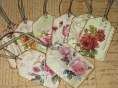 Vintage Rose Gift Tags Altered with Pearls at Vintage Paris Market on Etsy ~ New! https://www.etsy.com/listing/60762806/vintage-rose-gift-tags-altered-with?ref=related-1