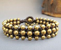 Charm Brass Bead Triple Row Macrame Bracelet