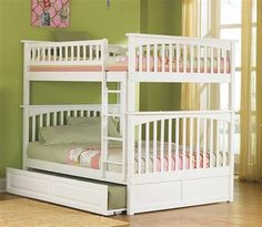 Columbia White Wood Full/Full Bunk Bed w/Raised Panel Trundle