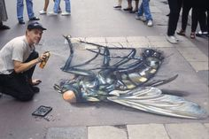 Street painting, also commonly known as pavement art, chalk art, and sidewalk art, is the performance art of rendering original and non-original artistic 3d Street Art, 3d Street Painting, Amazing Street Art, Street Art Graffiti, Amazing Art, Street Artists, Awesome, Chalk Artist, 3d Chalk Art