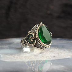 Adjustable Statement Ring Gift 925 Sterling Silver Turkish Emerald GemStone Ring Hammered Handmade Pond Lily Designed Silver Ring