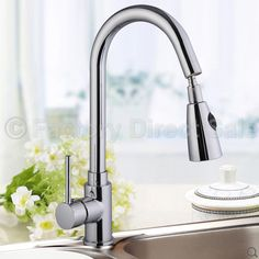 """16"""" Pull-Out Chrome Kitchen Sink Faucet Spray Swivel One Handle New"""