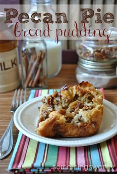 Pecan Pie Bread Pudding | Something Swanky. No funny business here-- it's simply pecan pie and bread. Imagine the most heavenly french toast you've ever eaten...