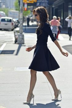 will do this fall...black flared A-line skirt, fitted black sweater, nude pumps